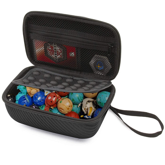 CASEMATIX Travel Case Compatible with Bakugan Figures, BakuCores and Trading Cards - Hard Shell Bakugan Case with Padded Divider and Wrist Strap