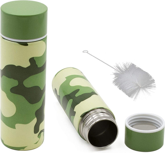 CASEMATIX Stainless Steel Pocket Spittoon 5-Ounce Travel Spit Cup with Cleaning Brush Included - Portable Dip Spit Bottle with Camo Design, Spitoon for Car Wide Mouth Reusable Spit Cups for Chew