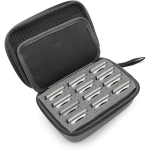 CASEMATIX Hair Clipper Guard Blade Holder Case For Barbers and Stylists Fits 12 Metal Andis, Oster, Wahl, Babyliss Detachable Clippers Metal Guards