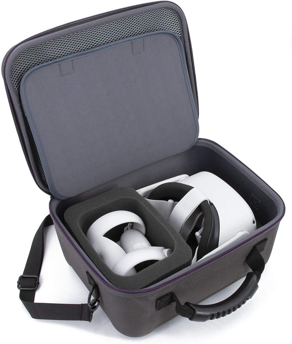 CASEMATIX Hard Shell Travel Case Compatible with Oculus Quest 2 - Protective Oculus Quest 2 Case with Impact-Absorbing Foam and Shoulder Strap