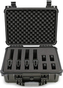 "CASEMATIX 16"" Customizable 4 Pistol Multiple Pistol Case - Waterproof & Shockproof Hard Gun Cases for Pistols, Magazines and Accessories - Multi Gun Case for Pistols with Two Layers of 2"" Thick Foam"