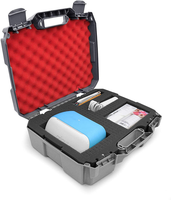 CASEMATIX Hard Travel Case for Cricut Joy Machine & Cricut Accessories in Customizable Foam - Cricut Machine Case Only with Grey and Red Styling