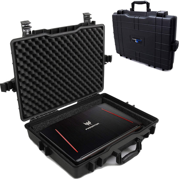 CASEMATIX Waterproof Laptop Hard Case for 15-17 inch Gaming Laptops and Accessories - Crushproof Heavy Duty Laptop Case for 15.6 and 17.3 inch Laptops