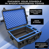 CASEMATIX Hard Shell Travel Case Compatible with PlayStation 5 Console, Controllers, Games and Accessories - Waterproof PS5 Carrying Case with Customized Foam for Both Standard and Digital Editions