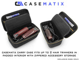 CASEMATIX Hair Clipper Barber Case Holds Two Clippers, Hair Buzzers, Trimmers, T Finisher Liner - Travel Case For Clippers, Stylist and Hair Supplies