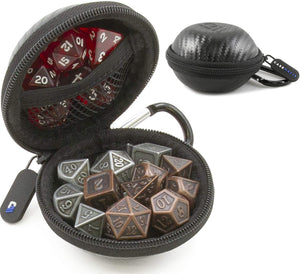 CASEMATIX Ultra-Compact Travel Dice Case and Dice Holder for up to 21 RPG Dice with Non-Scratch Interior and Metal Carabiner