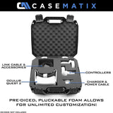 CASEMATIX Hard Case Compatible with Oculus Quest 2 and Oculus Quest VR Gaming Headset & Accessories - Oculus Quest Case Storage with Customizable Foam