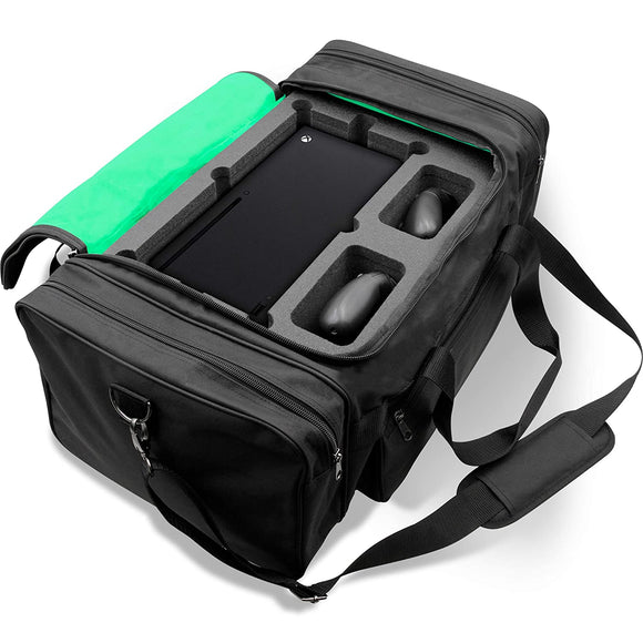 CASEMATIX Protective Travel Case Compatible with Xbox Series X Console, Controllers, Games and Other Accessories - Xbox Series X Carrying Case with Customized Foam Interior & Adjustable Shoulder Strap