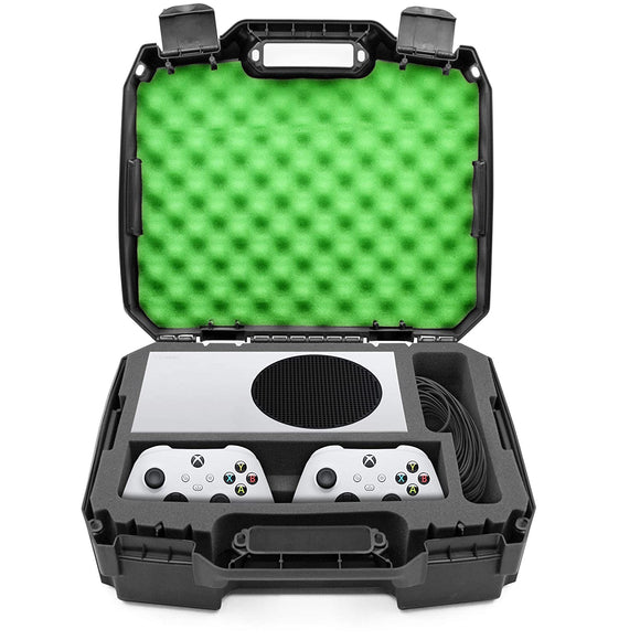 CASEMATIX Hard Shell Travel Case Compatible with Xbox Series S Console, Controllers, Games and Other Xbox Series S Accessories - Custom Foam Interior