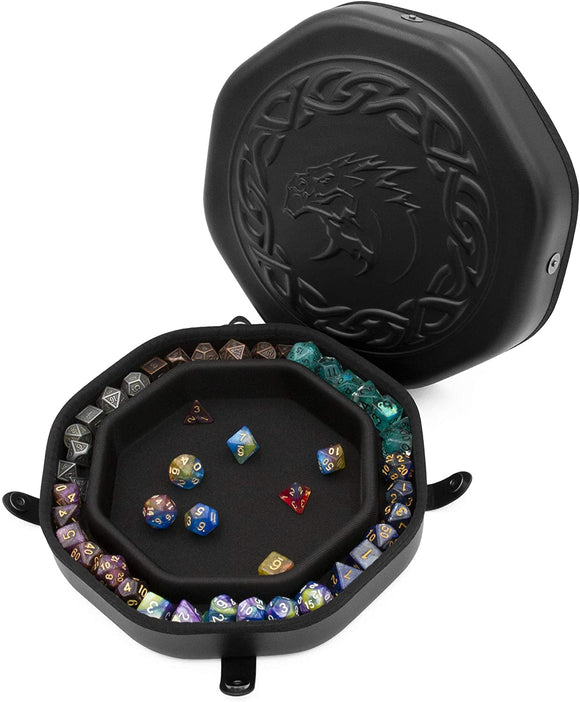 CASEMATIX Dice Tray and Storage Case for Up to 115 RPG Dice - Dice Tray for Rolling with Magnetic Snaps, Embossed Dragon Design & Non-Scratch Interior