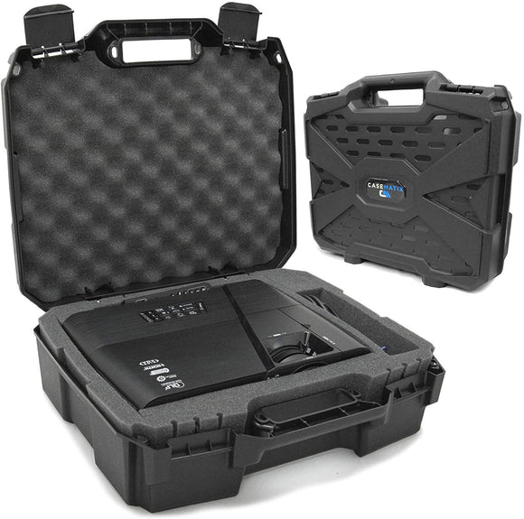 CASEMATIX Projector Travel Case with Hard Shell Outer & Foam Interior Compatible with Select Epson VS240, VS345, VS340 3LCD, XGA, SVGA & 3D Projectors - Check Projector Sizing