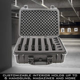 "CASEMATIX 18"" Customizable 6 Pistol Multiple Pistol Case - Waterproof & Shockproof Hard Gun Cases for Pistols, Magazines and Accessories with 3"" Foam"