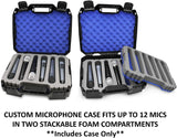CASEMATIX Wireless Microphone System Hard Case Fits 12 Sennheiser, Shure Mic, Nady, AKG, VocoPro and More Handheld Transmitter Mics, CASE ONLY