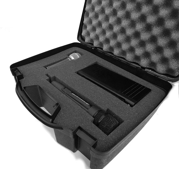CASEMATIX Wireless Microphone System Hard Case with Customizable Foam Fits Pyle Pro PDWM3400, PDWM3375 Premier Series UHF, Handheld Mics and More