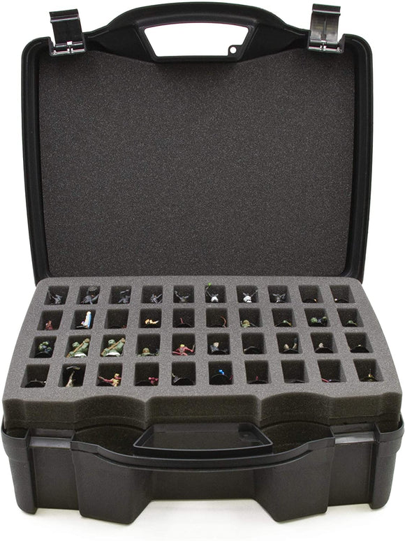 CASEMATIX Miniature Storage Hard Shell Figure Case - 80 Slot Figurine Minature Carrying Case with Customizable Foam Layer for Large Miniatures
