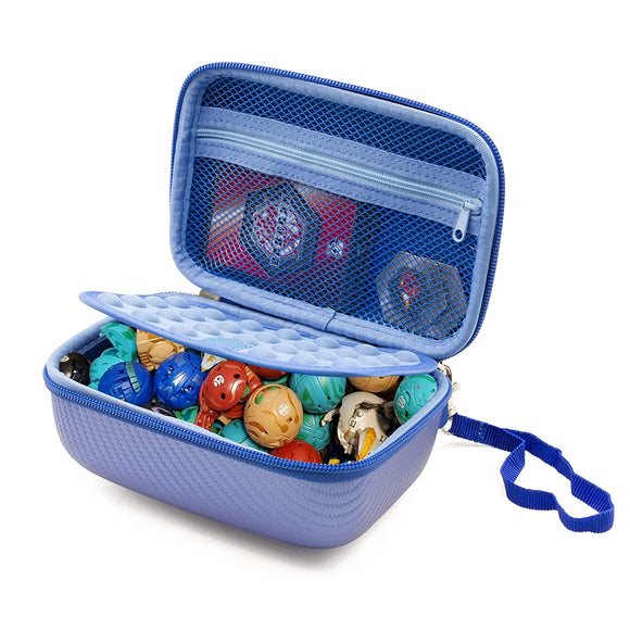 CASEMATIX Travel Case Compatible with Bakugan Figures, BakuCores and Trading Cards - Hard Shell Bakugan Case with Padded Divider and Wrist Strap Compatible with Collectible Battle Figures - Case Only