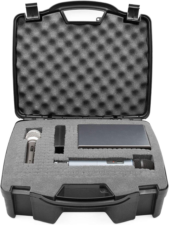 CASEMATIX Hard Shell Wireless Microphone Case with Customizable Foam Compatible with Sennheiser, Shure, Audio Technica, Nady, VocoPro, AKG Systems