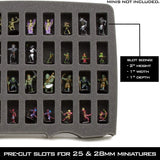 CASEMATIX Miniature Storage Hard Shell Figure Case - 80 Slot Figurine Minature Carrying Case with Customizable Foam Layer for Large Miniatures for Warhammer 40k, Dungeons & Dragons and More!
