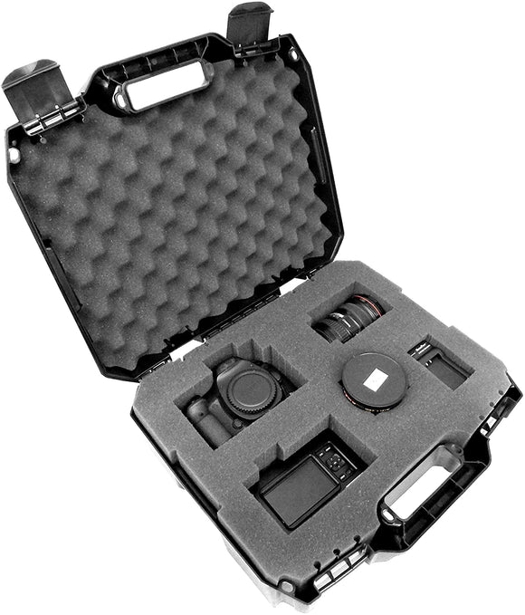CASEMATIX Camera Equipment Case with Custom Foam for DSLR Body, Lens, Flash and More - Hardshell Protective Hard Plastic Case with Customizable Foam