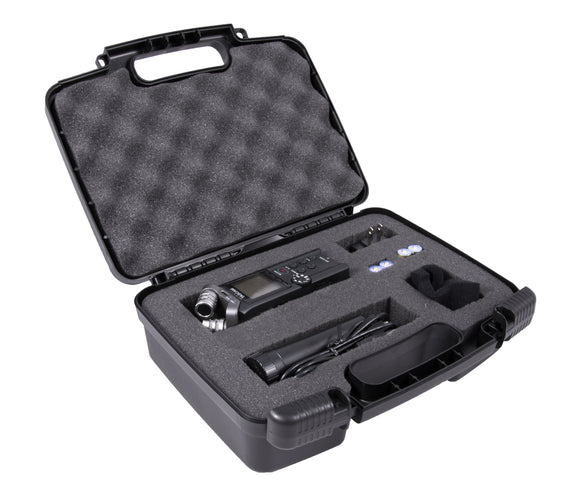 CASEMATIX Customizable Digital Recorder and Accessory Travel Bag Case Compatible with Tascam DR-05x,Dr-40x, 22L 100MK, 100MKiii, 44WL Recorder, Mini Tripod, Adapter, Mic Pop Windscreen and More