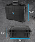 "CASEMATIX 16"" Waterproof Hard Travel Case with Padlock Rings and Customizable Foam - Fits Accessories up to 13.5"" x 9"" x 4.5"""