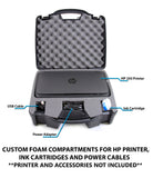 CASEMATIX Portable Printer Carry Case Compatible with HP Officejet 250 Wireless Mobile Printer, Ink Cartridges and Power Cable