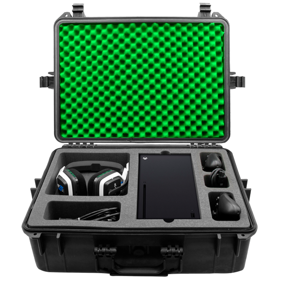 CASEMATIX Hard Shell Travel Case Compatible with Xbox Series X & S Console, Controllers, Headset and Accessories - Waterproof and Crushproof with Foam