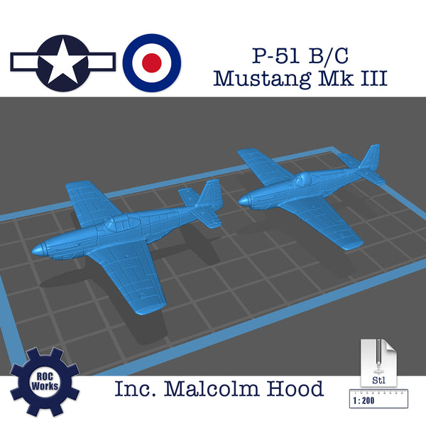 P-51 B/C Mustang MkIII (with cockpit options) (STL file)