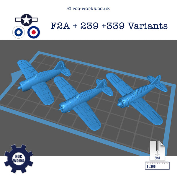 Brewster F2A, 239 & 339 Buffalo variants (STL file)
