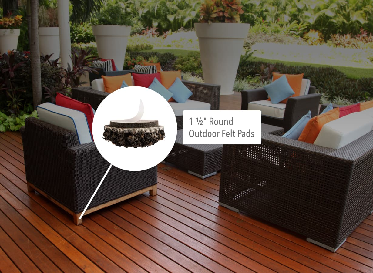 "1 ½"" Round Outdoor Felt Pads used under patio chair furniture on modern deck."