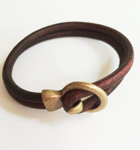 Men's Brown Leather Bridle Bracelet
