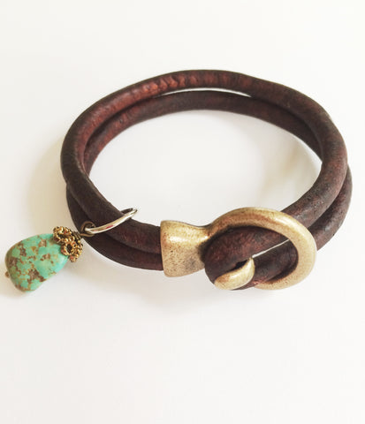 Turquoise Drop with Brown Leather and Brass Clasp