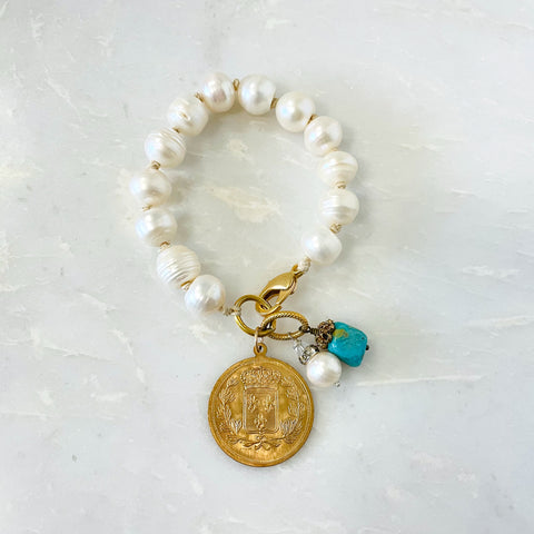Charms and Pearl Bracelet