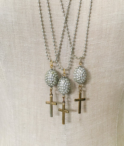 Vintage Cross and Rhinestone Bauble Necklace
