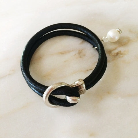 Black Leather and Pearl Bracelet