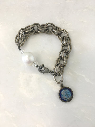 Locket and Pearl Bracelet