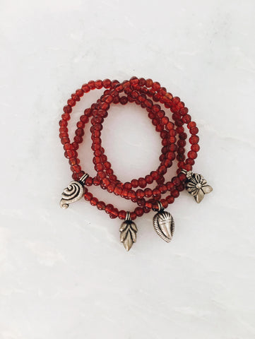 Red Glass Beads and Charms