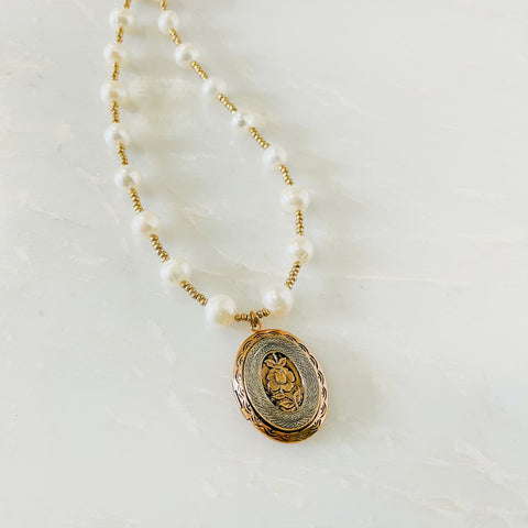 Rose Locket and Pearls