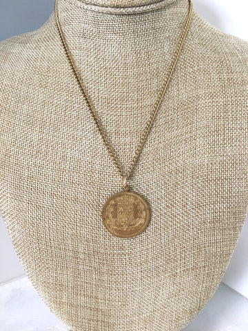 French Coin Pendant Fleur De Lis Necklace
