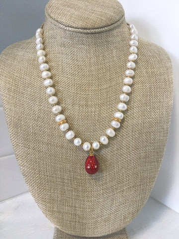 Pearl and Egg Charm Necklace