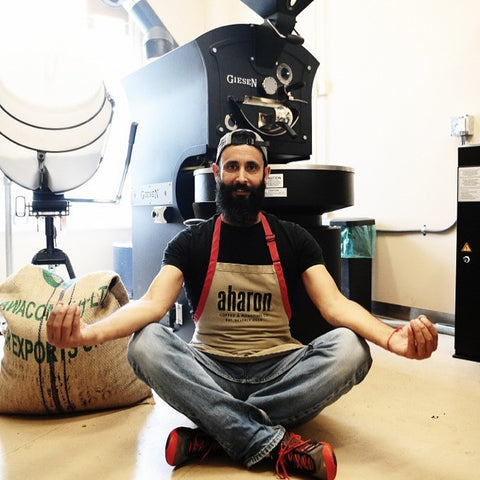 Aharon with Coffee Roaster