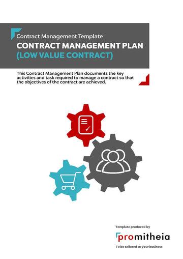 Contract Management Plan - Low Value