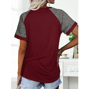 T-shirt contrastant ample col rond manches raglan