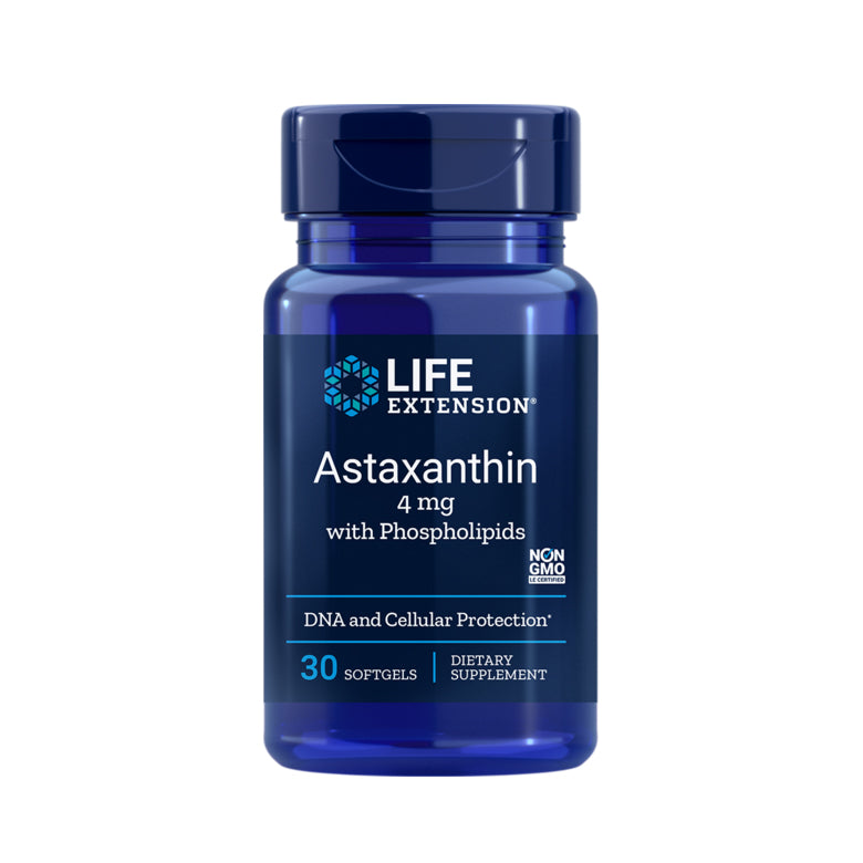 LIFE EXTENSION ASTAXANTHIN 4mg WITH PHOSPHOLIPIDS 30 CAPSULES