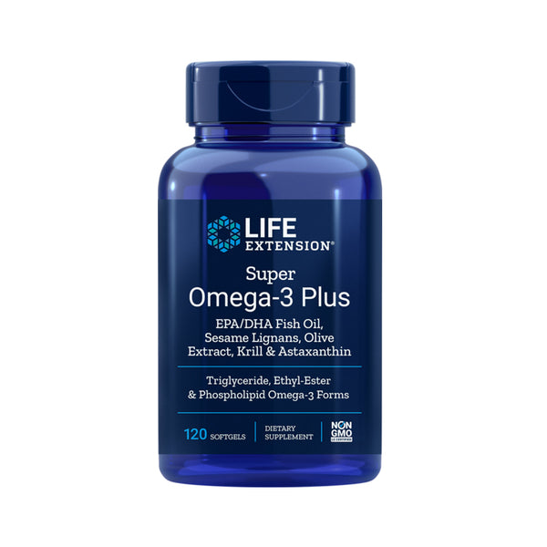 LIFE EXTENSION SUPER OMEGA 3 PLUS EPA/DHA FISH OIL, SESAME LIGNANS, OLIVE EXTRACT, KRILL & ASTAXANTHIN 120 SOFTGELS