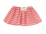 Coral Red Chevron Skirt w/ Bow