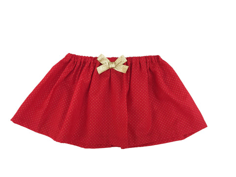 Gold/Red Polka Dot Skirt w/ Bow