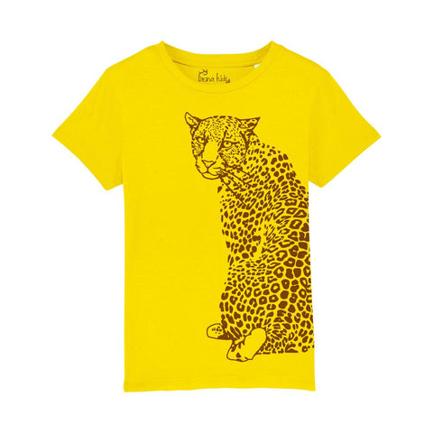 Organic T-shirt Leopard Yellow/Brown