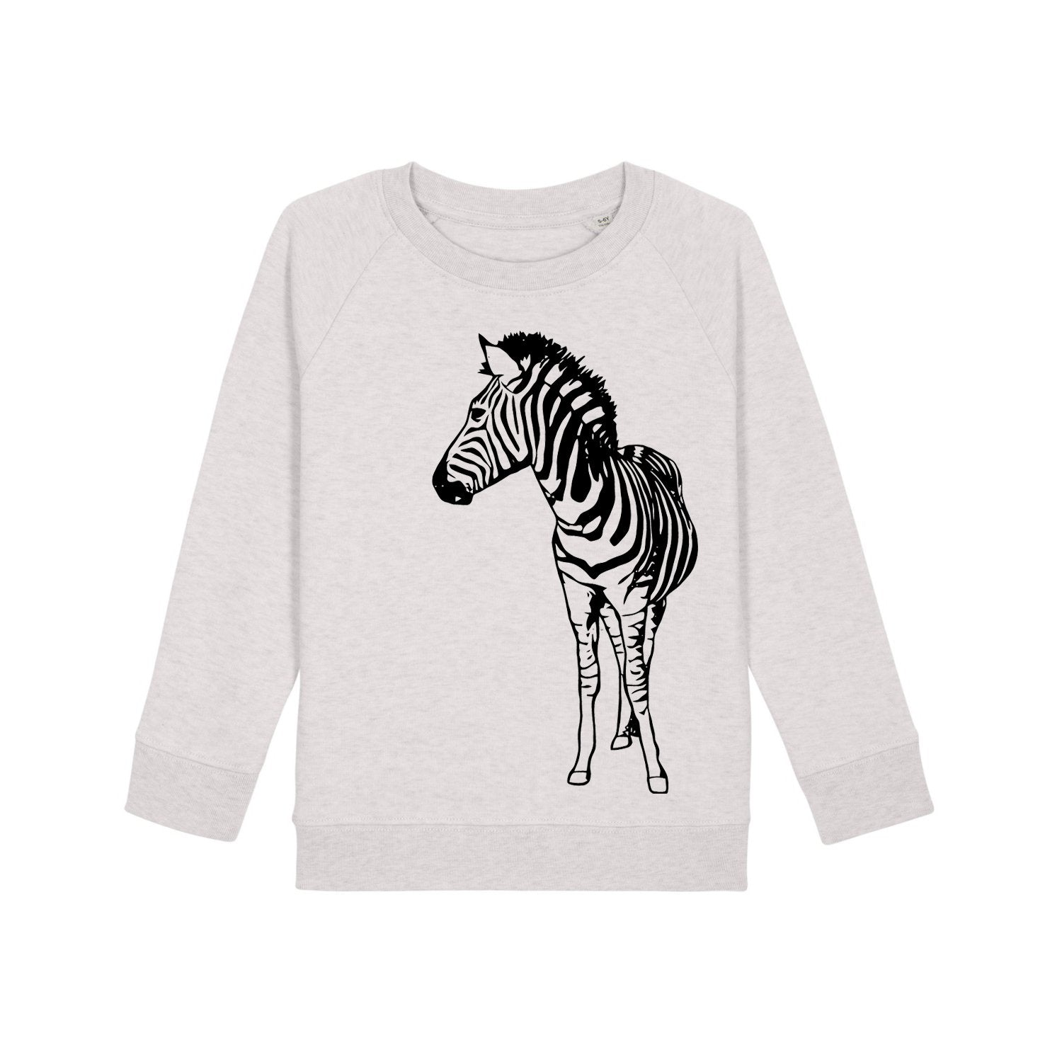 Organic kids sweater - Cream Heather Zebra