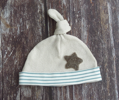 Knot top hat - grey/sage green with baby elephant star